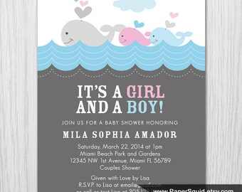 Whale theme Baby Shower Invitation - Twins Boy and Girl Baby Shower - Digital File - Printable - Item 146F