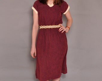 Vintage Ribbed Terrycloth Dress // Plum Sporty Vintage Dress // M L
