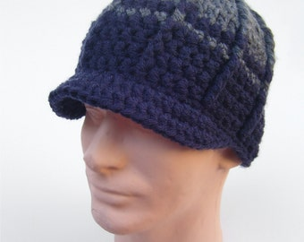 Brimmed Beanie Mens Hat Guys Hat Mens Brimmed Hat Gray Hat Navy Blue Hat Snowboard Beanie Ski Hat Winter Hat Warm Hat - MADE TO ORDER