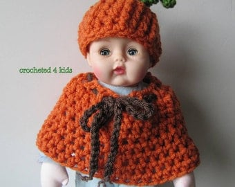 Pumpkin Doll Hat and Cape, Huggums Doll Clothes, Crochet Doll Clothes, Huggums Doll  Hat, Doll Cape, Fits Huggums and most 12 inch BabyDolls