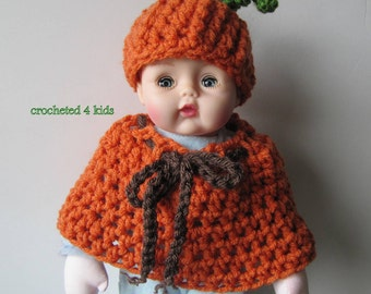Pumpkin Doll Hat and Cape, Huggums Doll Clothes, Crochet Doll Clothes, Huggums Doll  Hat, Doll Cape,  Fits Huggums and 12  inch Baby Dolls