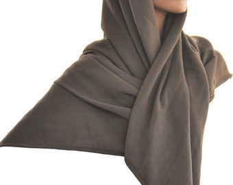 Shawl Square Scarf Wrap Scarf Ashen Brown Cool Weather Weight 46 x 46 inches Hijab
