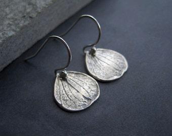 Sterling Silver Petal Earrings - Sterling Silver Hydrangea Petal Earrings - Sterling Silver Rustic Earrings - Modern Earrings