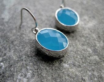 Blue Earrings - Silver Blue Glass Earrings - Nautical Earrings - Summer Wedding Earrings