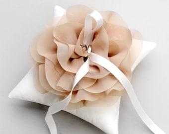 Taupe ring pillow, wedding ring pillow, bridal ring bearer pillow - Aria