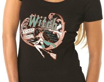 halloween shirt - halloween t shirt - witch shirt - witch t shirt - womens tshirts - halloween gifts - FIRST QUALITY WITCH - scoop neck