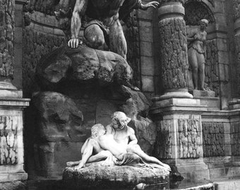 Paris Photography, Black and White Photography, Jardin du Luxembourg Gardens, Medici Fountain Lovers, Paris Romantic Fine Art Wall Art Decor