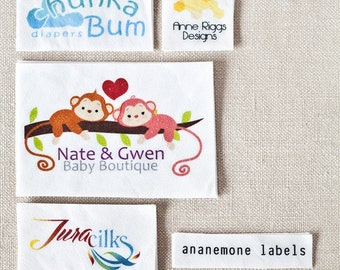 Custom Clothing Labels - Iron On or Sew On, White Organic Cotton