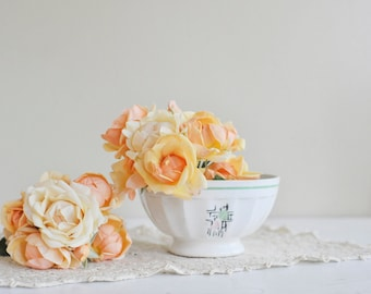 Cafe au late Pastel Bowl, Ceramic Bowl, Off White Mint Green Black and Pink Bowl, French Café Au Lait Bowl, French Bistro Bowl, Coffee Cup