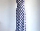 SALE 90s Grunge Plaid Maxi Dress Blue White Checkered Flannel Boho Dress XS/S