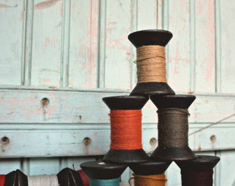Single Primitive Spool  - Blackened 2 Inch Wooden Bobbins with brightly colored thread - Rustic Valentine DIY Home Studio Decor