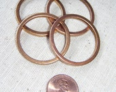 Vintage Raw Brass Flat Ring Connectors (4) Geometric, Deco, Industrial