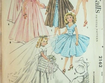 McCalls 2162 Doll Wedding Dress Wardrobe Vintage Sewing Pattern Size 22