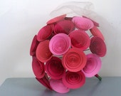 Pink Paper Flower Bridal Bouquet, Large Wedding Bouquet in Pinks: Hot Pink, Bubblegum, Bright Pink