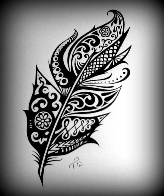 Tribal Feather Designs Henna Art