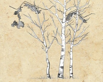 Small (Ethan and Sara) Traditional Canvas  Aspen Wedding Thumbprint Tree - 16 x 20   for Up to 150 guests with 2 pens and 2 ink pads