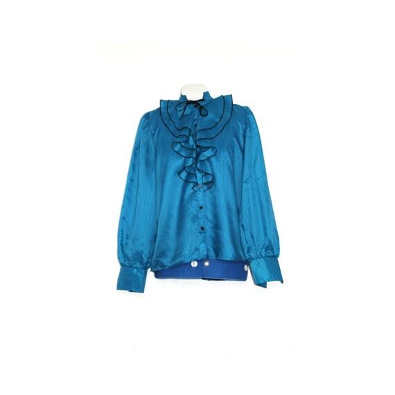 Royal Blue Ruffle Blouse 120