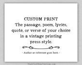 Custom Typography Print, personalized, quote, lyrics, poem
