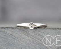 Cubic Zirconia Stacking Ring - Silver