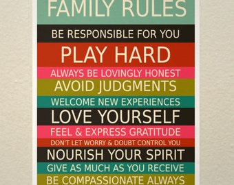 Family Rules 11x17 // Typographic Print, Art Poster, Housewarming Gift, Spiritual Home, Mindfulness, Right Living, Bright, Colorful, Bold