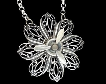 Steampunk Propeller Flower Necklace Silver Brass The Sterling Petal Propetal with Real Spinning Propeller by Dr Brassy Steampunk