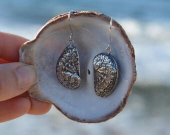Abalone Shell Earrings, Sterling Silver Dangle Earrings, Drop Earrings, Textured, Oxidized, Beach Jewelry, Handmade