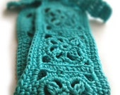 Crochet Headband, Boho Knit Hairband, In Bright Turquoise, Aqua, Aquamarine 100% Cotton