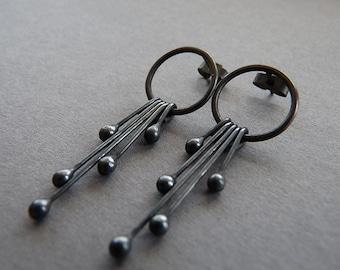 Sterling silver oxidized studs - Sterling silver oxidized post earrings - Silver earrings - Silver jewelry -Handmade jewellery
