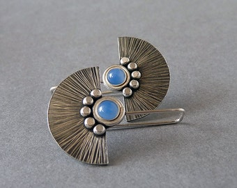 Silver earrings. Sterling silver earrings with blue onyx. Silver fan earrings. Silver jewelry. Handcrafted. MADE TO ORDER.