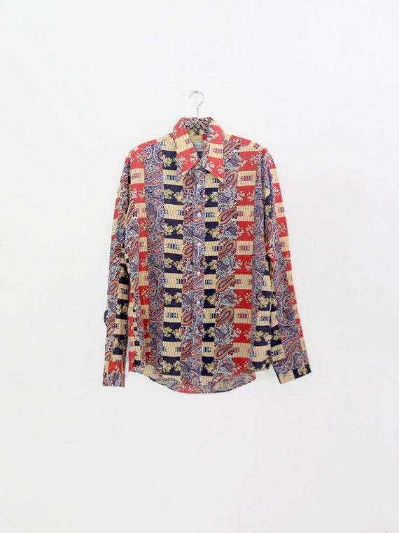 vintage 70s mens shirt / plaid patwork print