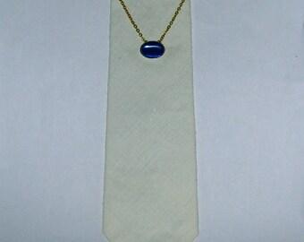 ON SALE Vintage 30s 40s Gold Plated Cobalt Cabochon Mens Ladies Chain Tie Clasp