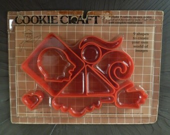 Cookie Craft Cutters. Vintage 1970s. Bloomingdale's New in Package Set. Modern Mod Abstract Shapes. Red or White. Head, Hand, Cloud, Heart.