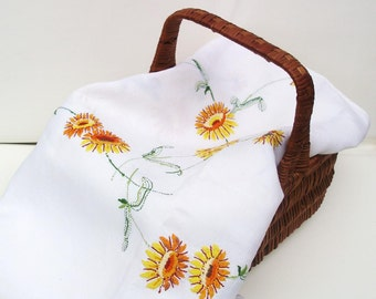 Vintage Tablecloth Large Embroidered Yellow Flowers Mid Century Table Cover Yellow Orange White