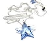 Crystal Star Necklace, Light Sapphire, Blue, Swarovski Crystal Star, Silver, Pendant Necklace, Sky Blue Crystal, Star Jewelry, Star Pendant