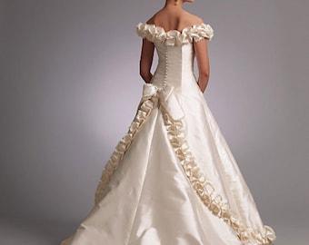 Vogue 1095 Off Shoulder Wedding Dress Pattern Uncut Bellville Sassoon Womens Sewing Pattern Princess Seam Formal Evening Bridal Gown