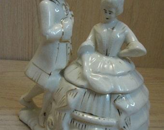 Figurine Statue Trinket Box Victorian Lady & Man Dancing White Gold Design 1950-1960