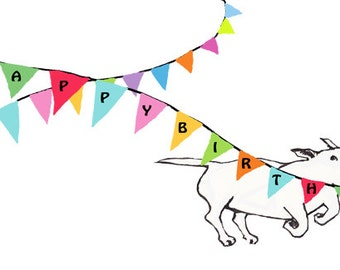 Bull Terrier Birthday Card with Bunting