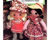 Instant Download PDF Sewing Pattern to make 12 inch Tall Country Girl Twin Soft Body Rag Dolls in Prairie Dresses Petticoats Clothes Hats