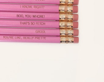 mean girls assorted engraved pencil set 6 lavender pencils. that's So fetch. I know right.