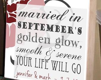 September Wedding, Personalized Wedding Gift, Gifts for the bride, Gifts for the groom, Wedding Gift,  Unique Wedding Gift 10 x 10