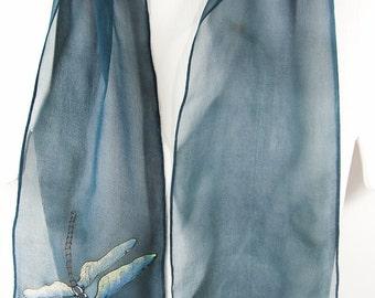 "Hand painted silk scarf. Dragonfly Silk Scarf. Handpainted Silk scarves. Painted silk scarf. Grey silk scarf. 8"" x 50"" Handmade silk scarf"