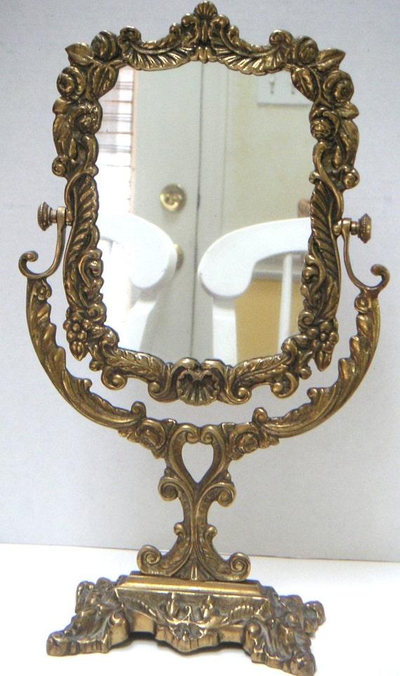 Vintage Brass Dresser Vanity Mirror Swivel Mirrorhome By