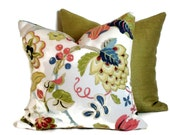 P Kaufmann Floral & Artichoke Decorative Pillow 18x18 20x20 22x22 Lumbar Pillow Accent Pillow Throw Pillow Toss Pillow Blues Rose Kiwi Cream