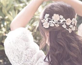 Flower lace headpiece, wedding flower hair comb, bridal hair jewelry, beaded leaf headband, forehead band, silk flower head wrap- Lucy
