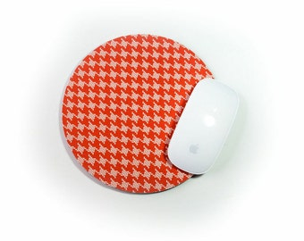 houndstooth mouse pad home office decor burnt orange and white round mousepad modern vintage by moda burnt red home office