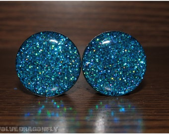 9/16, 14mm - READY TO SHIP - Aqua Rush Holographic Glitter Plugs | 20% Off