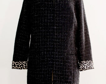 Vintage Retro 60s Style Boucle Coat - Mad Men Style Coat - Womens Black Coat - Size Medium