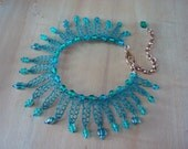 Crocheted Wire Bracelet Modern Charm Bracelet Turquoise Loopy Loops Flirty and Fun OOAK Adjustable Sizing Lightweight  Crocheted Chain Link