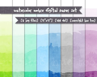 ombre dip dye digital paper, watercolor texture ombre gradient effect, blue lime green turquoise mint purple gray, instant download 519
