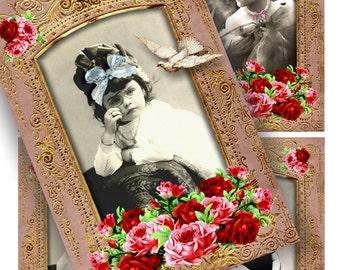 LITTLE PRINCESS - Printable Download Digital Collage Sheet ChikUna Art Vintage Ephemera Paper Craft Scrapbook